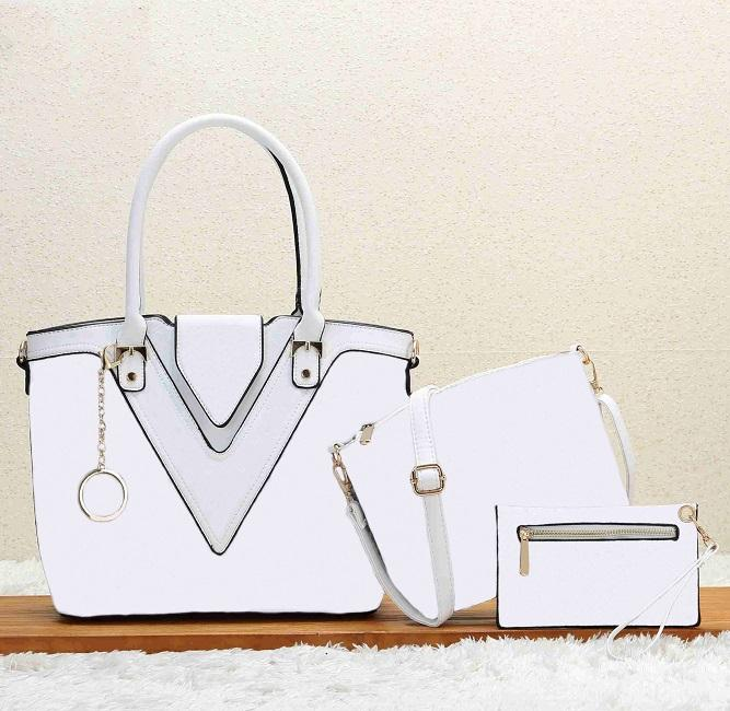 Lady brand bag Europe and the United States brand design solid color V word large capacity high quality three-piece handbag