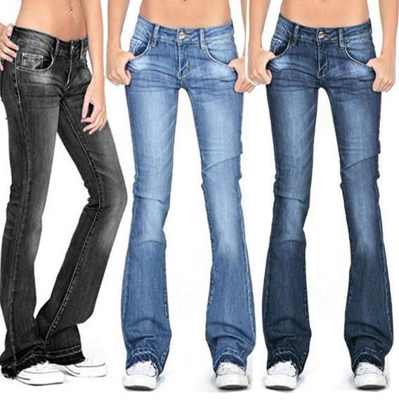 Frauen Designer-Jeans-beiläufige gebleichtes Flare lange Hosen Damenmode in Übergrößen Solid Color Jeans Weibliche Kleidung