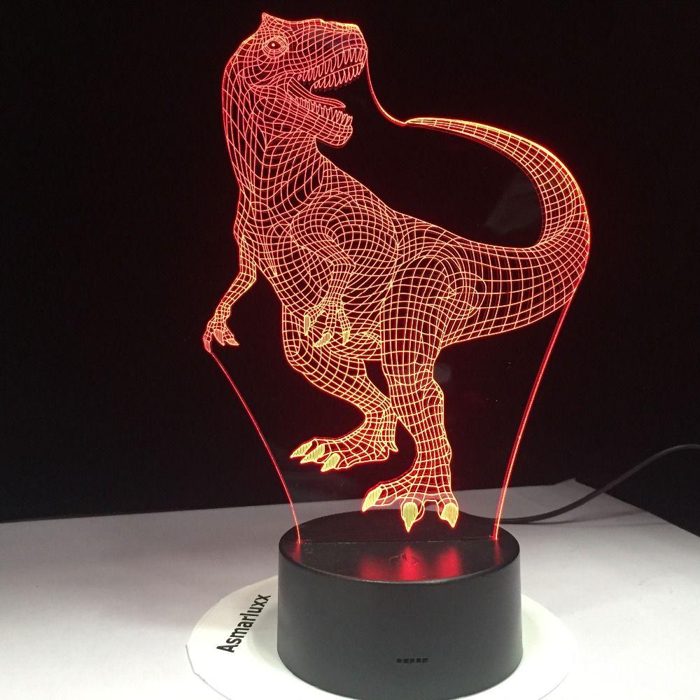 Tyrannosaurus Rex Новый Динозавр 3D LED Night Lights с 7 Цветами Свет для Украшения Дома Лампы Удивительная Визуализация Оптическая