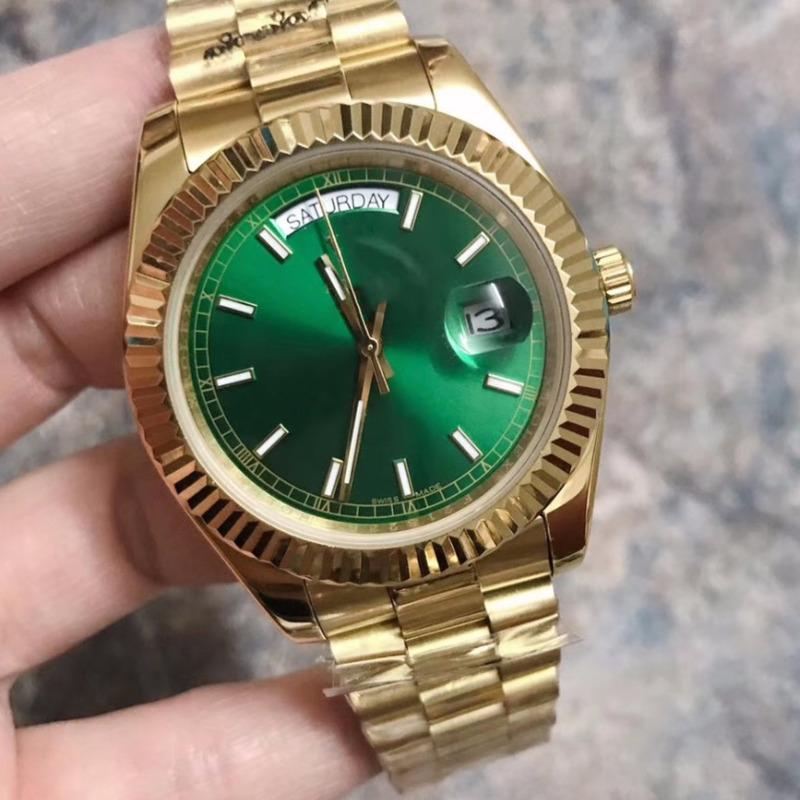고급 남성 시계 로즈 골드 자동 DAYDATE 데이 날짜 대통령 자동 디자이너 시계 피리 베젤 시계 폴딩 버클 손목 시계