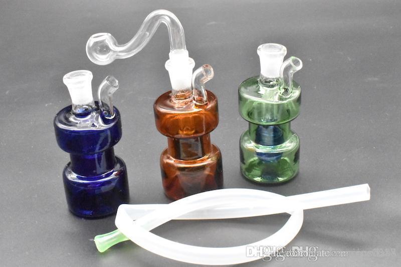 Bunte Mini Spiral Recycler Dab Rig Glas Bongs Wasserpfeifen 10mm Joint Wasser Bong Mini Bohrinsel mit Banger und Schlauch