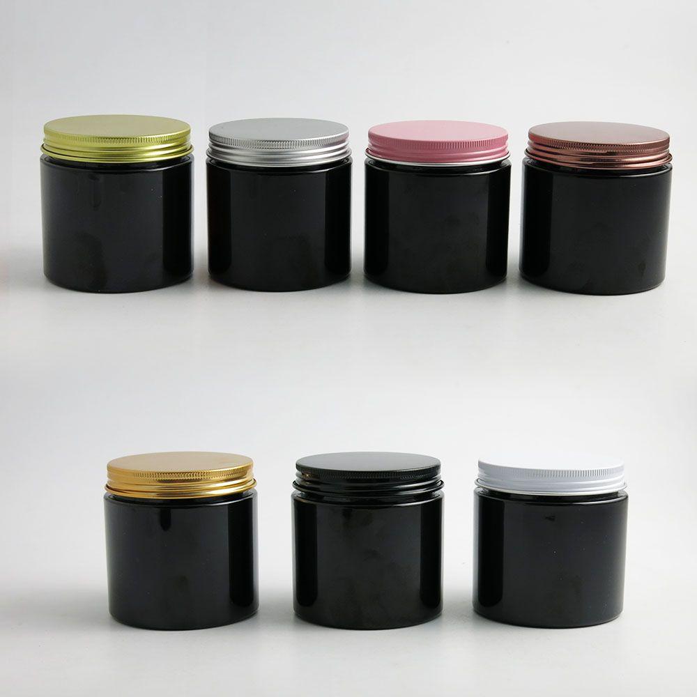24 x 200g Contenitori per crema cosmetica nera vuota Contenitori per crema 200cc 200ml per confezioni cosmetiche Bottiglie in plastica con coperchi in metallo