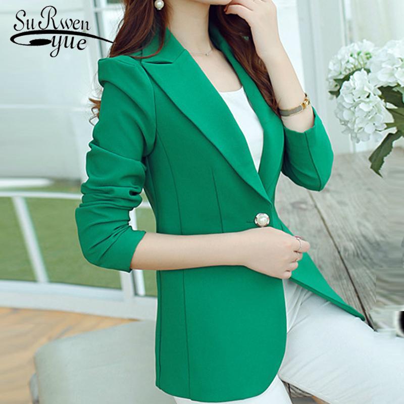 2019 mode bureau dame manteau à manches longues mince veste formelle femmes manteaux solide noir vert femmes outwear veste féminine D214 30