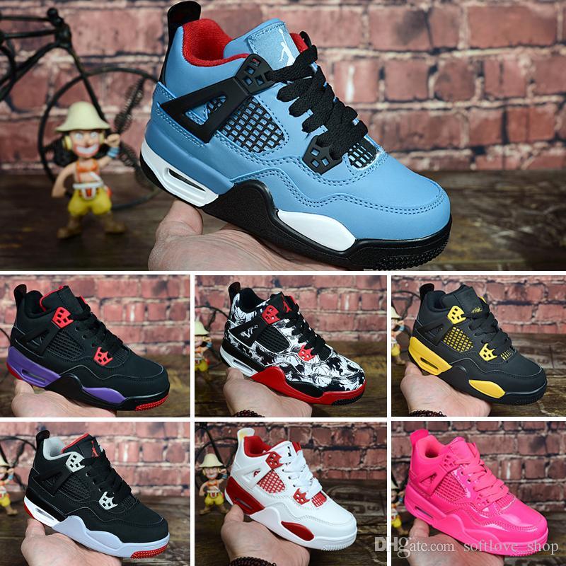 الجملة بنات فتى أحذية أطفال 4 أحذية كرة السلة الأحذية الرياضية في الهواء الطلق رياضة الأحمر شيكاغو 4S أحذية رياضية رياضية 28-35