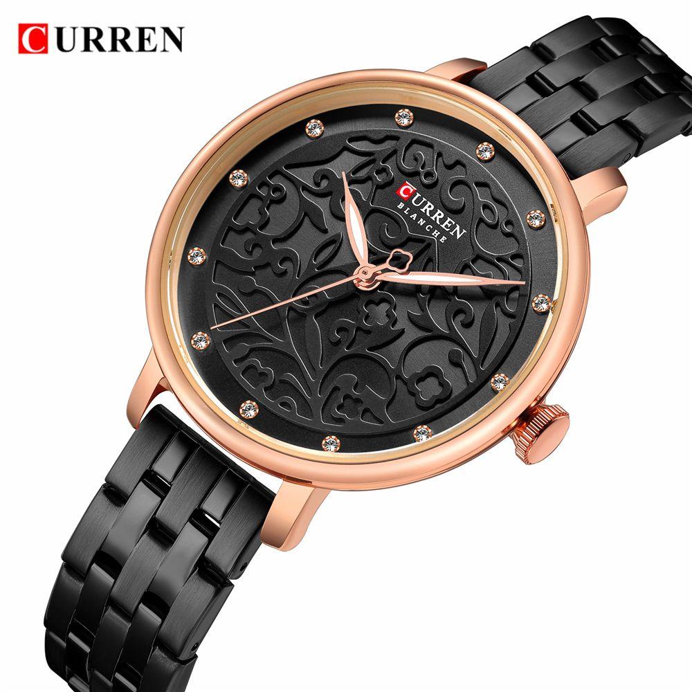 2019 CURREN New Black Women Watch Business Quartz Watch Ladies Top Brand Luxury Female Wrist Watch Girl Clock Relogio Feminin V191217