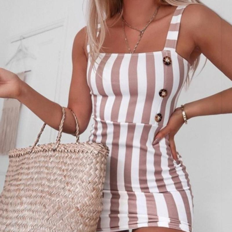Retro Vertical Dress Striped Button Sling Sexy Summer Elegant Sleeveless Mini Female Short Dress
