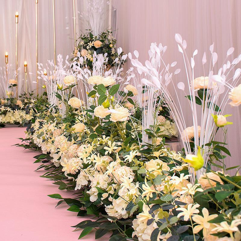 50cm de bienvenue Zone Fleur Route Guide Fleurs de mariage rangée arrière-plan mur mariage Arche décoration florale