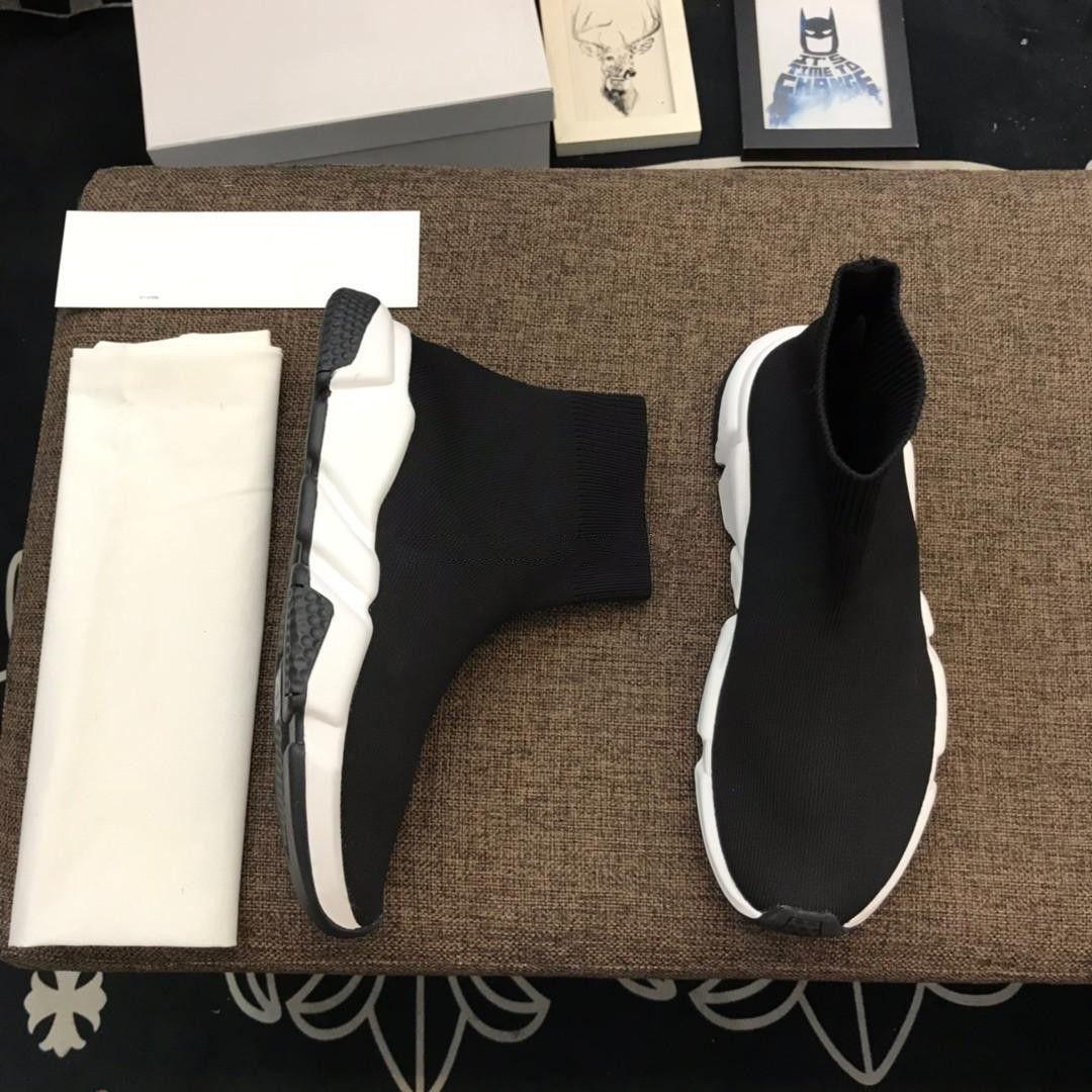 2020 Socken Schuhe Geschwindigkeit gestrickte Trainer-zufällige Turnschuhe Speed Trainer Socken-Rennen Mode Schwarze Schuhe Männer und Frauen High Cut Chaussures