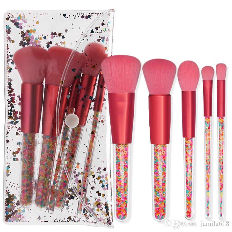 Professional 5pcs/set Candy Crystal Makeup Brush Set Wholesale Beauty Cosmetics Pink Foundation Blending Eyeshadow Make up Brushes Tool maquillaje