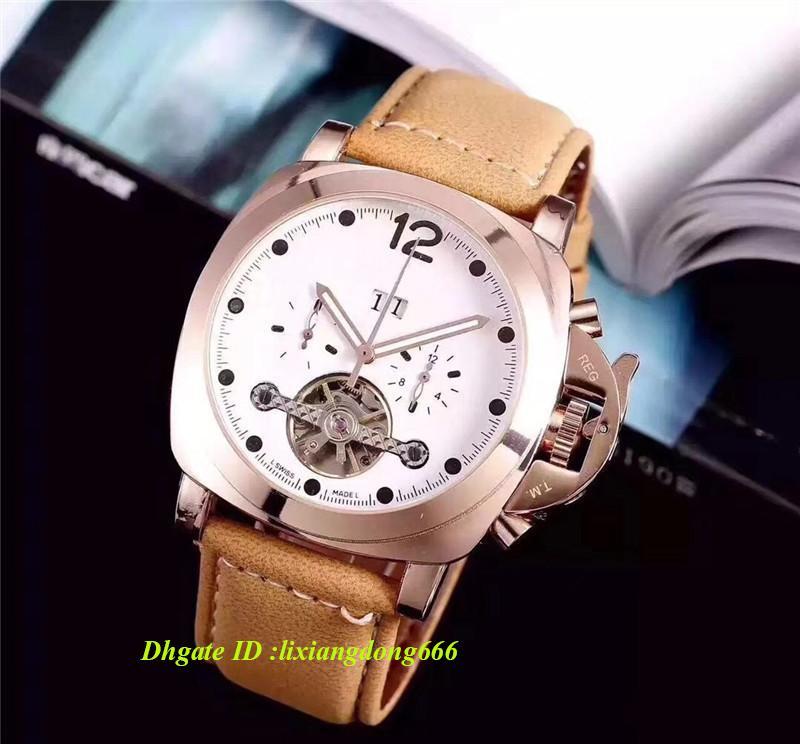 2019 Clássico dos homens Relógio de Alta Qualidade Movimento Automático Relógio Mecânico Relógio de Luxo Mostrador Preto Pulseira de Couro OM01