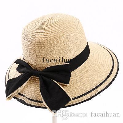 Yeni Kadın Yaz Moda Büyük Brim Şapka Açık Seyahat Tatil Güneşlik Hasır Şapka Bow Plaj Şapka