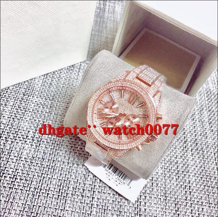 New Lady MK6452 brilho Rosa de Ouro Cristal Dial pulseira relógio 6452