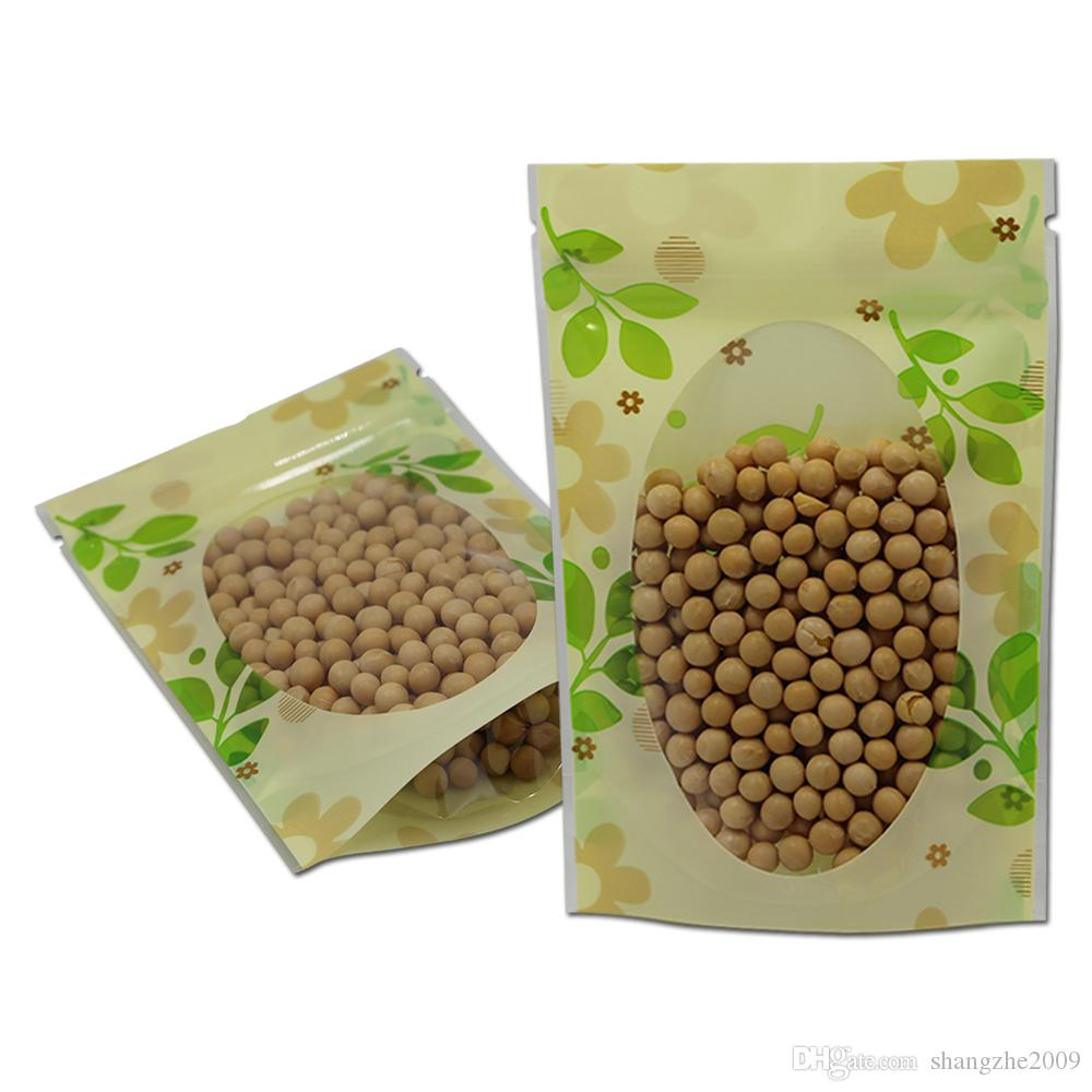Venta al por mayor 300pcs / lot 16 * 24cm Stand Up verde de la hoja de plástico de embalaje PE Doypack bolsas de la cremallera de almacenamiento de alimentos Ventana Bolsa Bolsa Paquete
