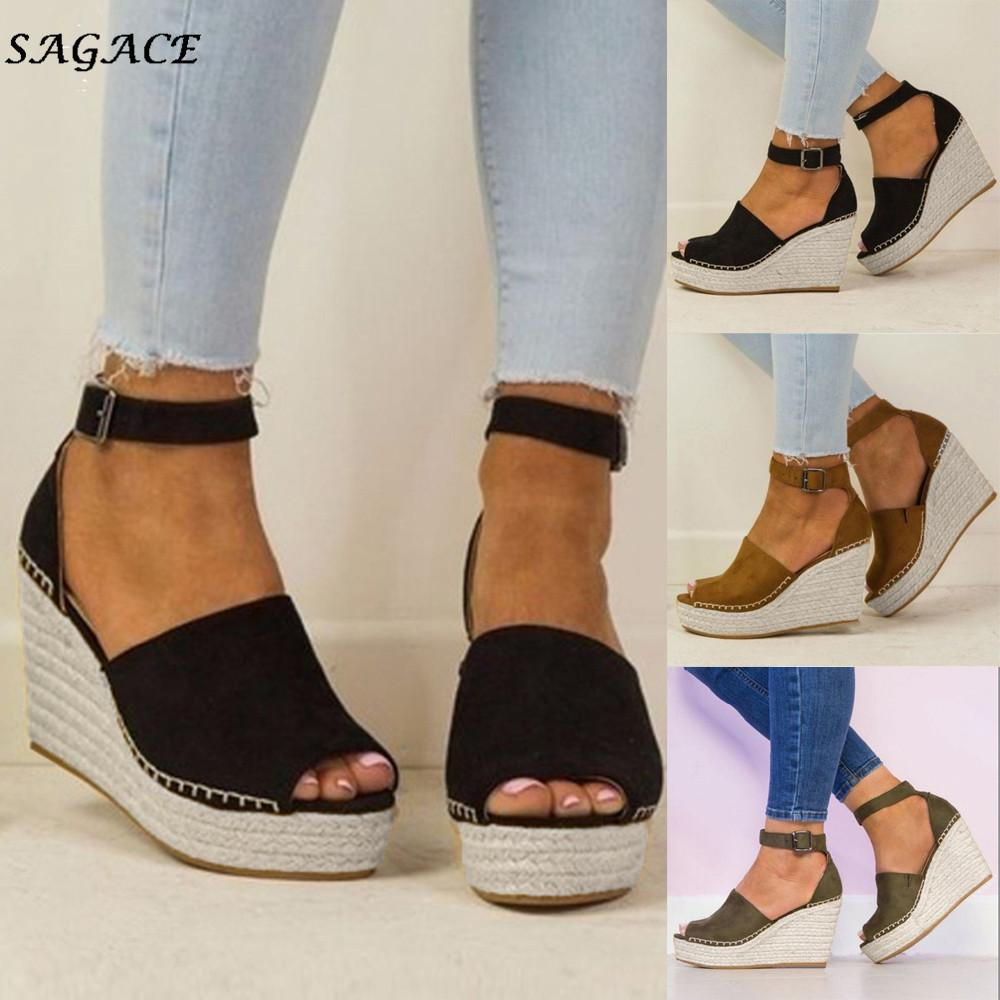 Sagace Shoes Women Fashion Dull Polish Sewing Peep Toe Wedges Hasp Sandals Flatform Shoes Zapatos Mujer Sandals Summer Y19070103