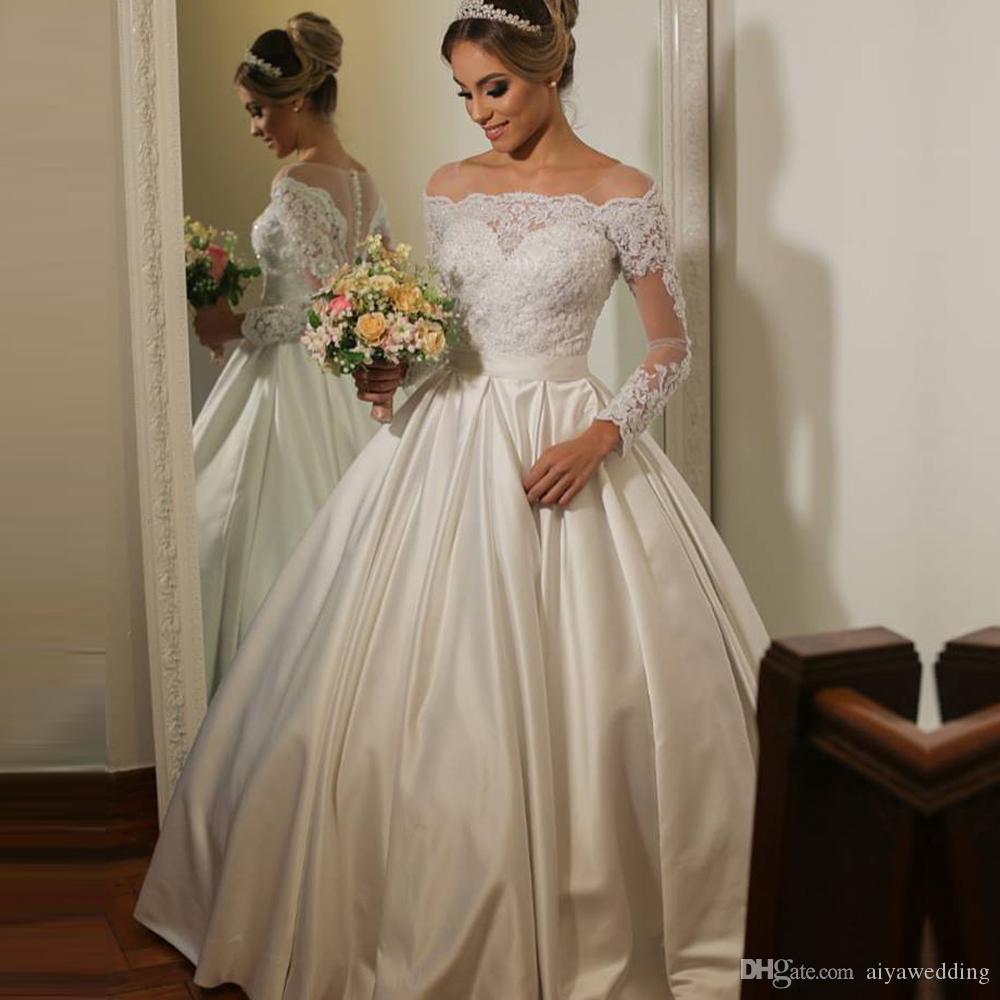 Colher Sheer Neck cetim vestido de noiva 2020 mangas compridas vestidos de casamento de praia Illusion corpete vestido da noiva
