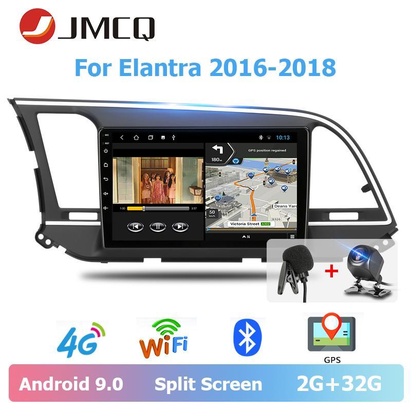 """Jmcq9""""Elantra2016-2018 선수 블루투스 멀티미디어 비디오 플레이어 입체 음향 분할 화면 차 dvd 를 위한 차 라디오 2 소음 안드로이드 9.0"""