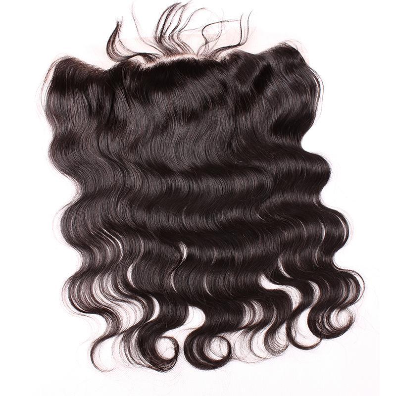 HD شفاف / براون الرباط أمامي إغلاق البرازيلي الجسم موجة 4 * 13 الأذن إلى الأذن الرباط أمامي الإنسان الشعر شحن مجاني بيلا الشعر