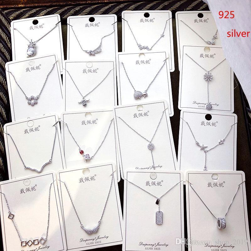 2019 New Fashion 925 Ciondolo in argento sterling Collana stile coreano farfalla cerchio trinket pendente clavicola catena spedizione gratuita FS46