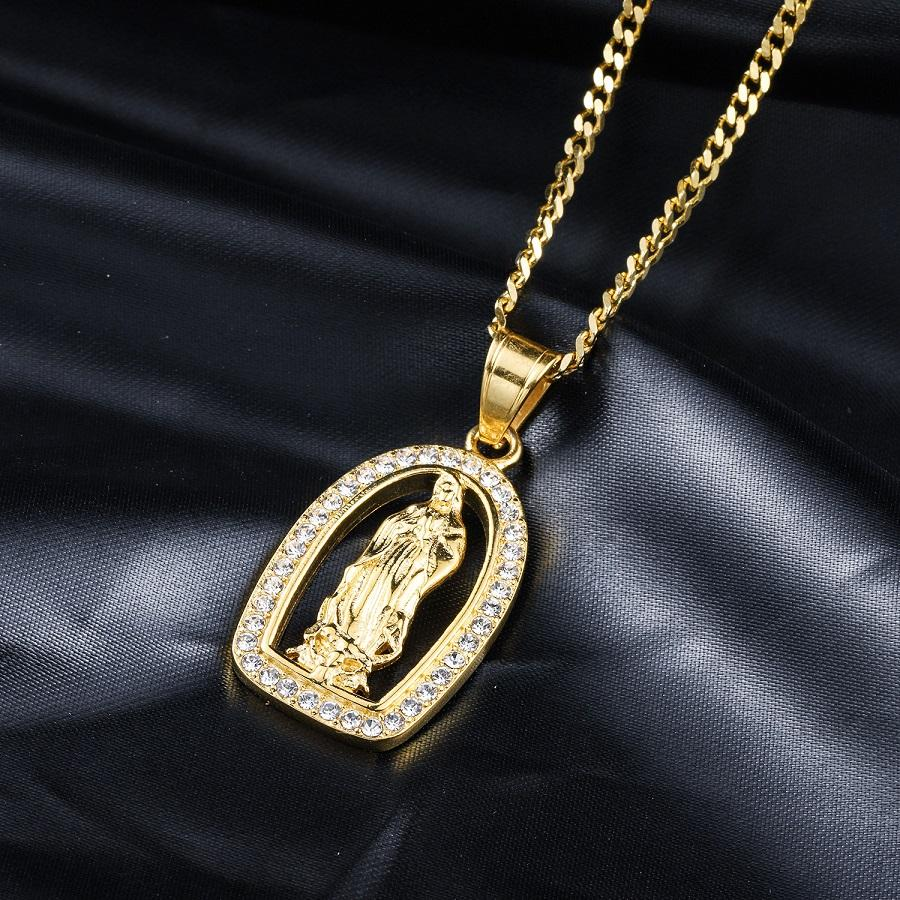 Fashion Silver Gold Virgin Mary Pendant Necklace Hip Hop Men Jewelry Rhinestone Stainless Steel Punk Mens 18K Gold Chains Necklaces For Mens