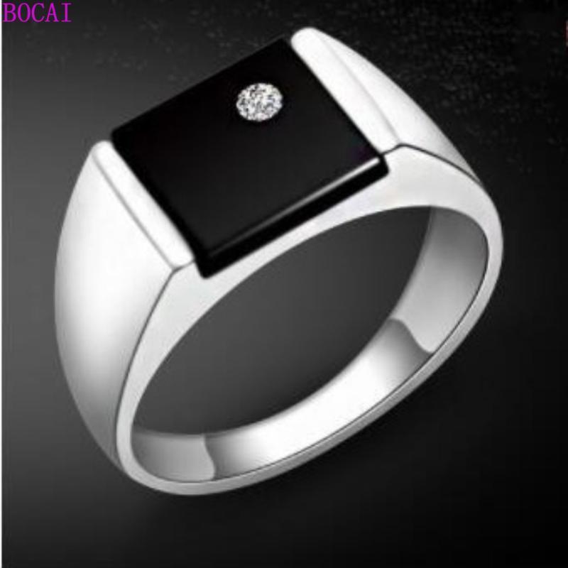 anelli in argento sterling S925 per gli uomini e le donne d'argento quadrato Thai 2020 nuova moda anello maschile nero pietra naturale anelli maschili
