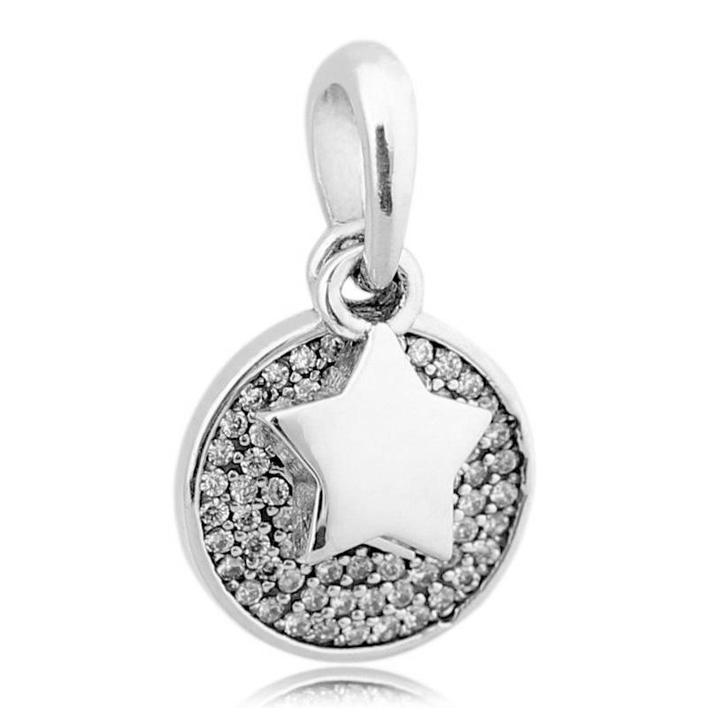 Pave Crystal Silver charms Zircon Beads for 925 sterling bracelet necklace chain