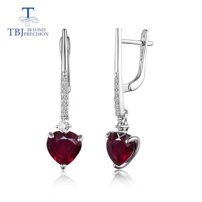 TBJ, bien natural del corazón 8mm color rubí plata de ley 925 de largo estilo de la moda de joyería fina pendiente de las mujeres CJ191203 desgaste del banquete de boda