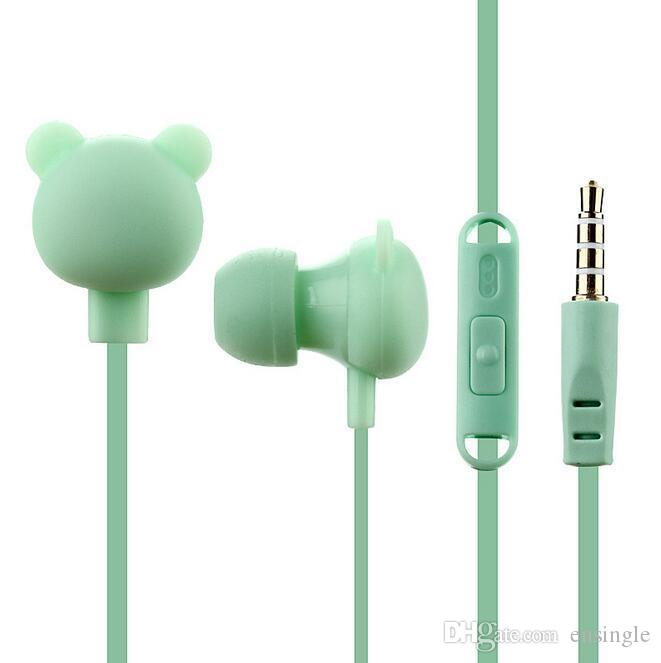 최고의 귀여운 곰 이어폰 다채로운 만화 스튜디오 아이폰에 대한 마이크 버튼 원격 3.5mm 헤드셋과 이어폰 핸즈프리 삼성 화웨이 Xiaomi