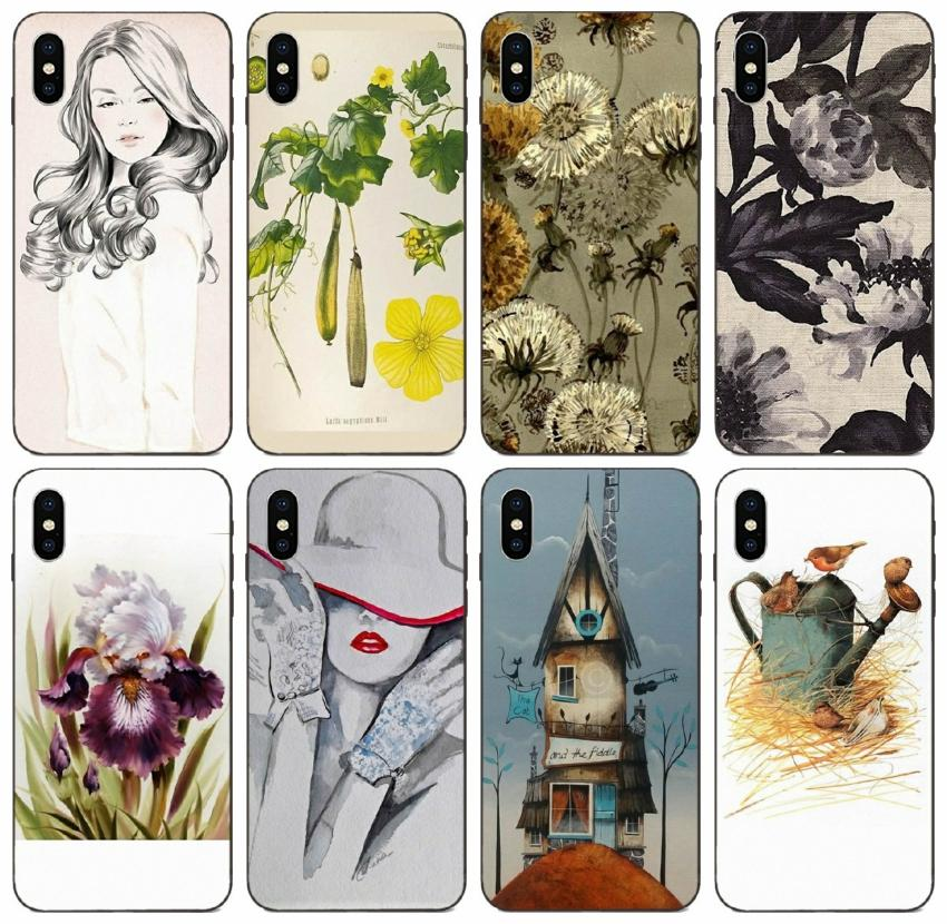 [TongTrade] Set Watercolor Vintage Painted iPhone Para o Caso 12 11 Pro Max X XS XR 8 7 6 Plus Capa Samsung A10S A10E Huawei Y5 Sony Xperia E5