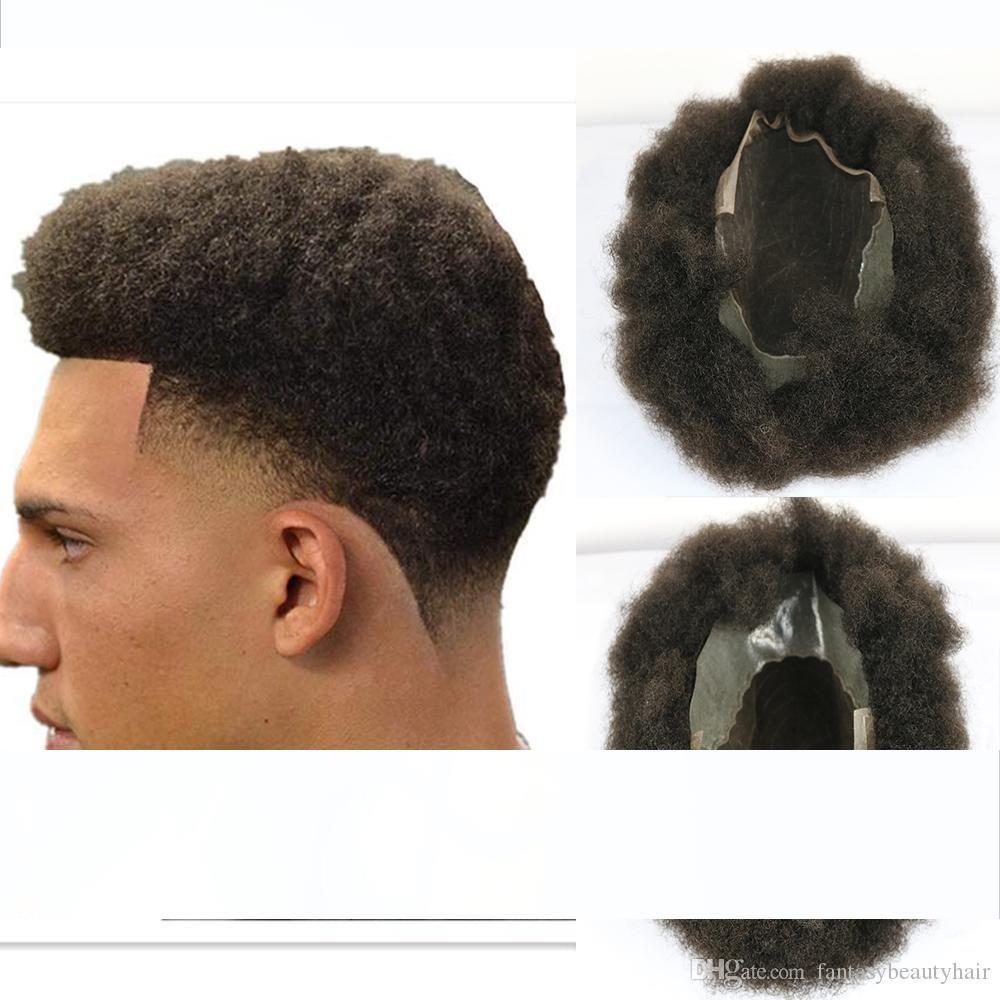 Замена швейцарского фронта шнурка PU Вернуться Q6 Base Mens Toupee Afro Curl 6мм человеческих волос Система Мужчины Lace Шиньон 8x10