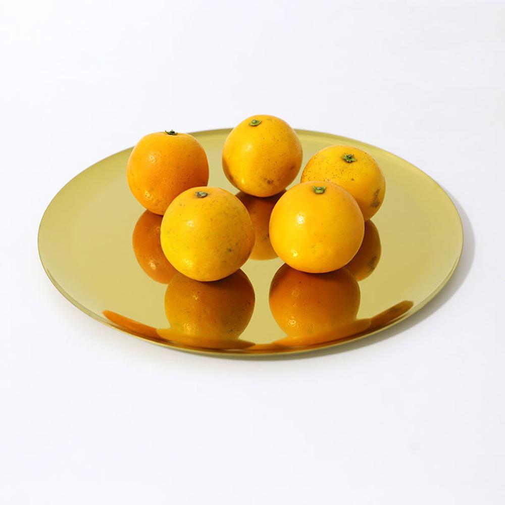 Round Stainless Steel Serving Tray,Cosmetics Jewelry Storage Organizer Tray Trinket Dish, 11 inch Diameter Tea Teays