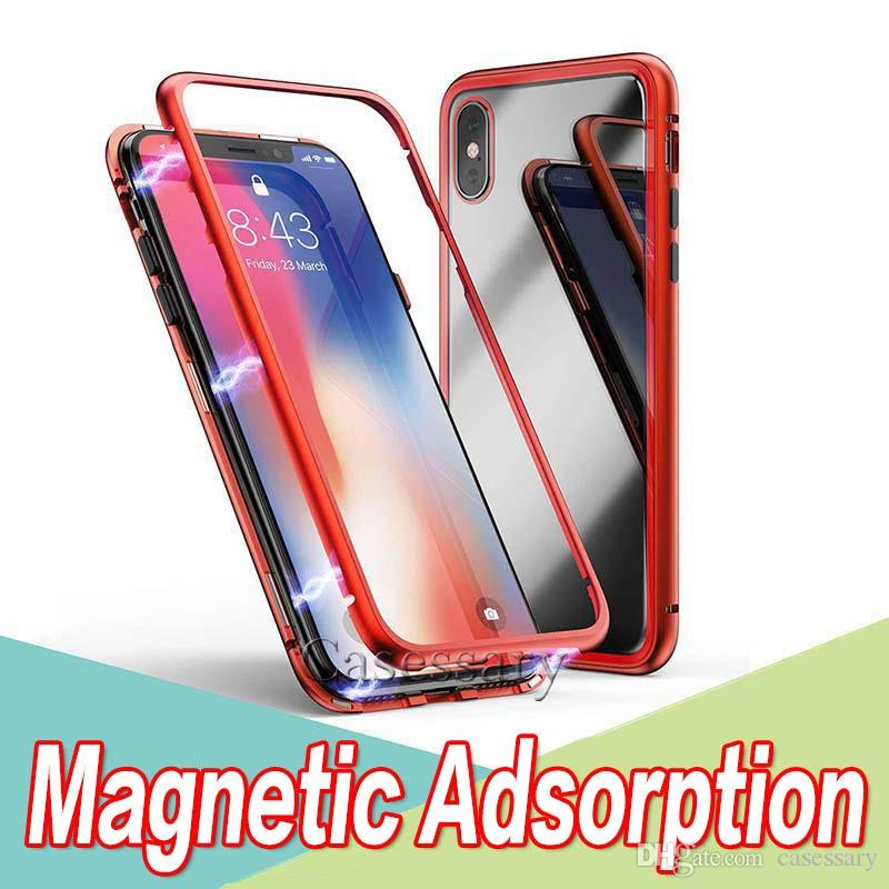 Magnetic Adsorption Tempered Glass Back Panel Phone Case Cover For iPhone 11 Pro Max XR XS Max iPhone X 8 7 Metal Alloy