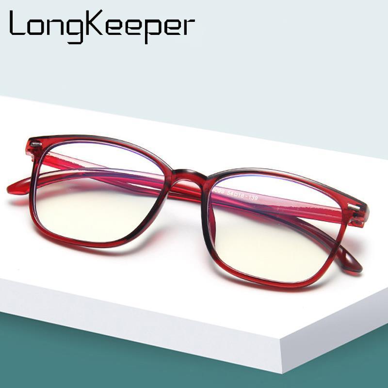 LongKeeper Kare Şeffaf Bilgisayar Gözlük Kadın Erkek Ultralight Perçin Gözlük Çerçevesi Retro Şeffaf Lens Gözlük óculos