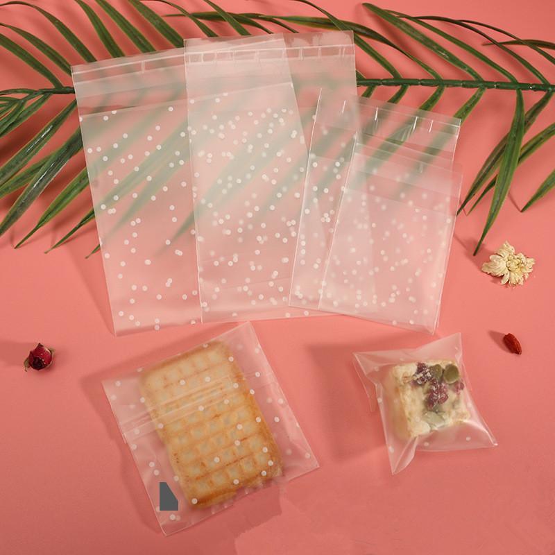 100Pcs / set Dot Buzlu Kendinden yapışkanlı Çanta Şeker Kurabiye Çanta Fırında Snack Hediye Plastik Düğün Dekor Packaging