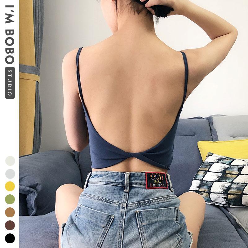 Nouveau tube beauté soutien-gorge sous-vêtements fil étudiant couleur unie simple mode dos soutien-gorge lingerie de sport top