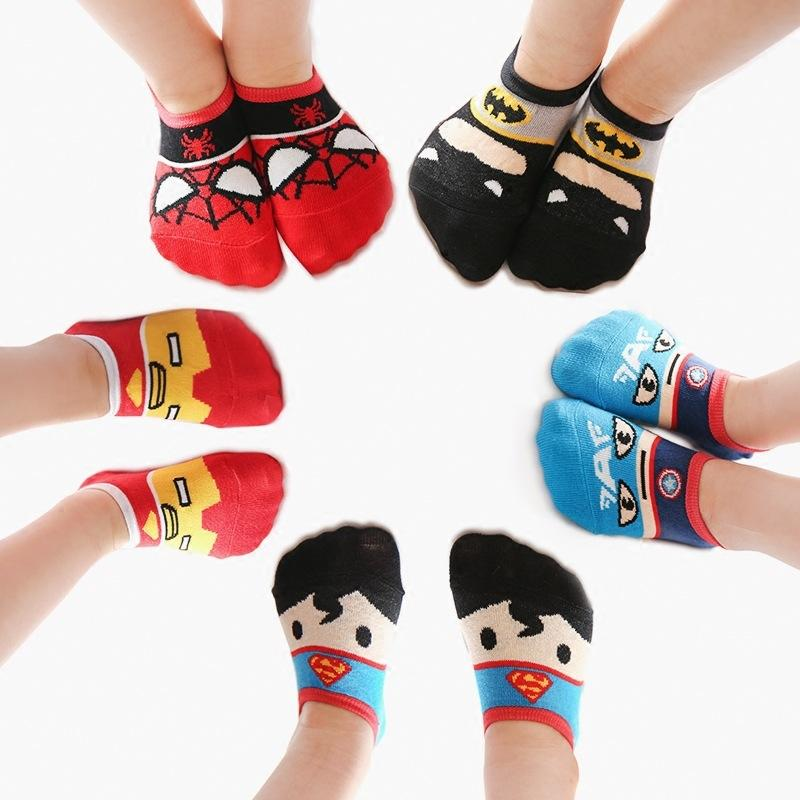 5 Pairs Children Boys Girls Socks Summer Cotton Thin Breathable Socks American Hero Avengers Cartoon Superman Batman Iron Man