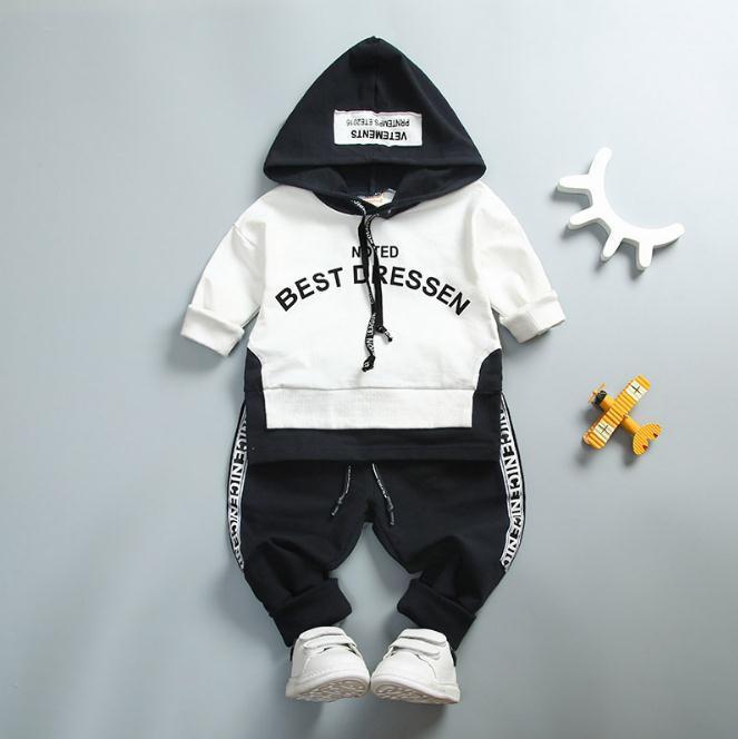 طفل القطن الملابس مجموعات ربيع الخريف طفل أطفال جودة عالية الملابس إلكتروني مقنع الدعاوى لل طفل رضيع طويلة الأكمام هوديس السراويل