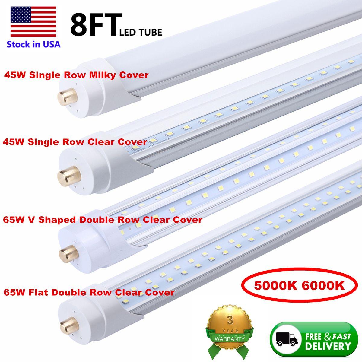 صف مزدوج LED أنابيب T8 8ft 1 دبوس واحد FA8 45W أدى أنبوب ضوء 8 أقدام 8 أقدام 100LM / ث لمبة الفلورسنت الأوراق المالية