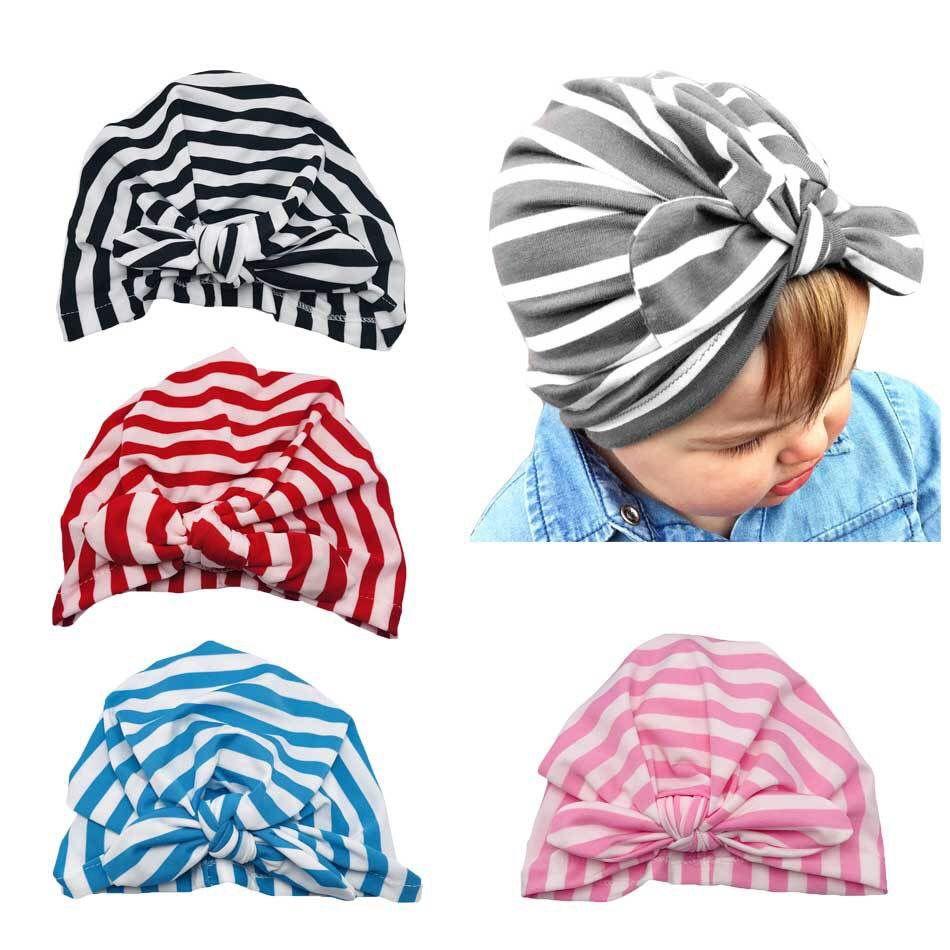 Kids Baby Girls Turban Stripe Bow Knot Head Wrap Bunny Rabbit Ear Hat Cotton Cap