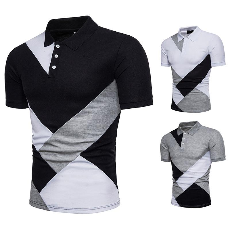 Camicie Uomo Nuovo Polo estive Geometria patchwork casuali dimagriscono le camice a maniche Moda Camicie Uomo
