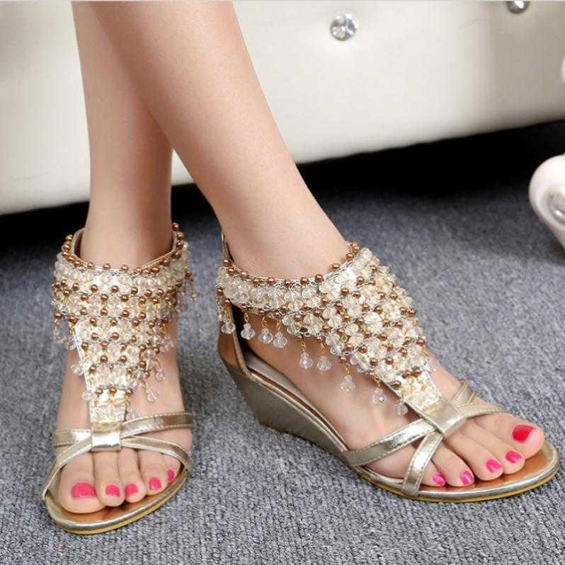 gold/silver cross band bohemia sandals women cover heels crystal beading gladiator sandalias mujer rivets summer wedges shoes