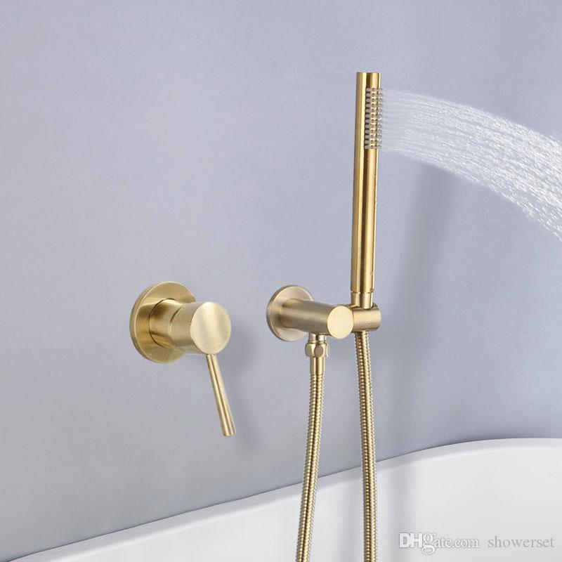 Brushed Golden Brass Bathroom Shower Set Wall Mounted Cold And Hot Water Mixer Faucet With Handheld Shower Head