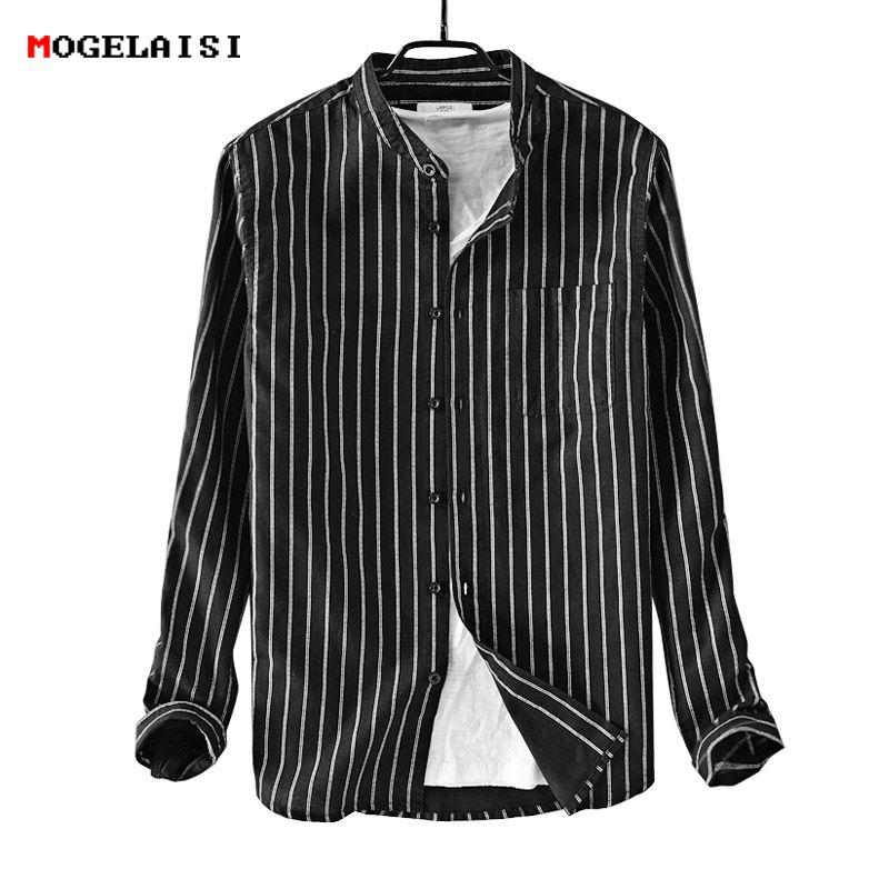 Camicia uomo a righe manica lunga Camicia uomo lino Camicia uomo in lino cotone bianco chemise homme camisa masculina taglia M-3XL 9209