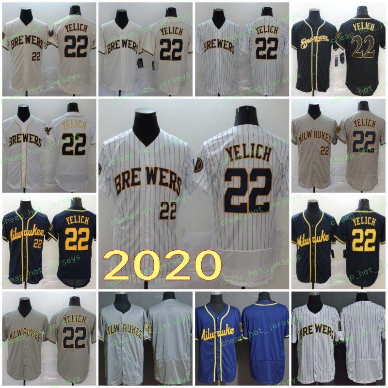 2020 남성 핫 (22) Yelich 빈 번호 이름 저지 야구 유니폼 Flexbase Coolbase 블랙 네이비 화이트 크림 그레이 남자 홈 도로 스티치