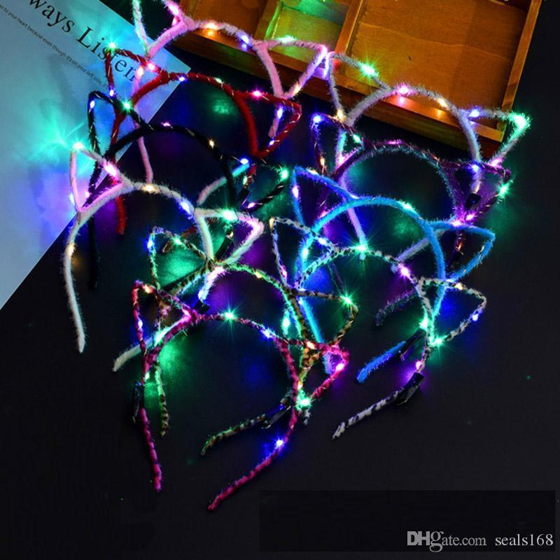Led Cat Ear Headband Light Up Party Glowing Supplies Women Girl Flashing Hair Band Football Fan Concet Cheer Halloween Xmas Gifts HH7-1275