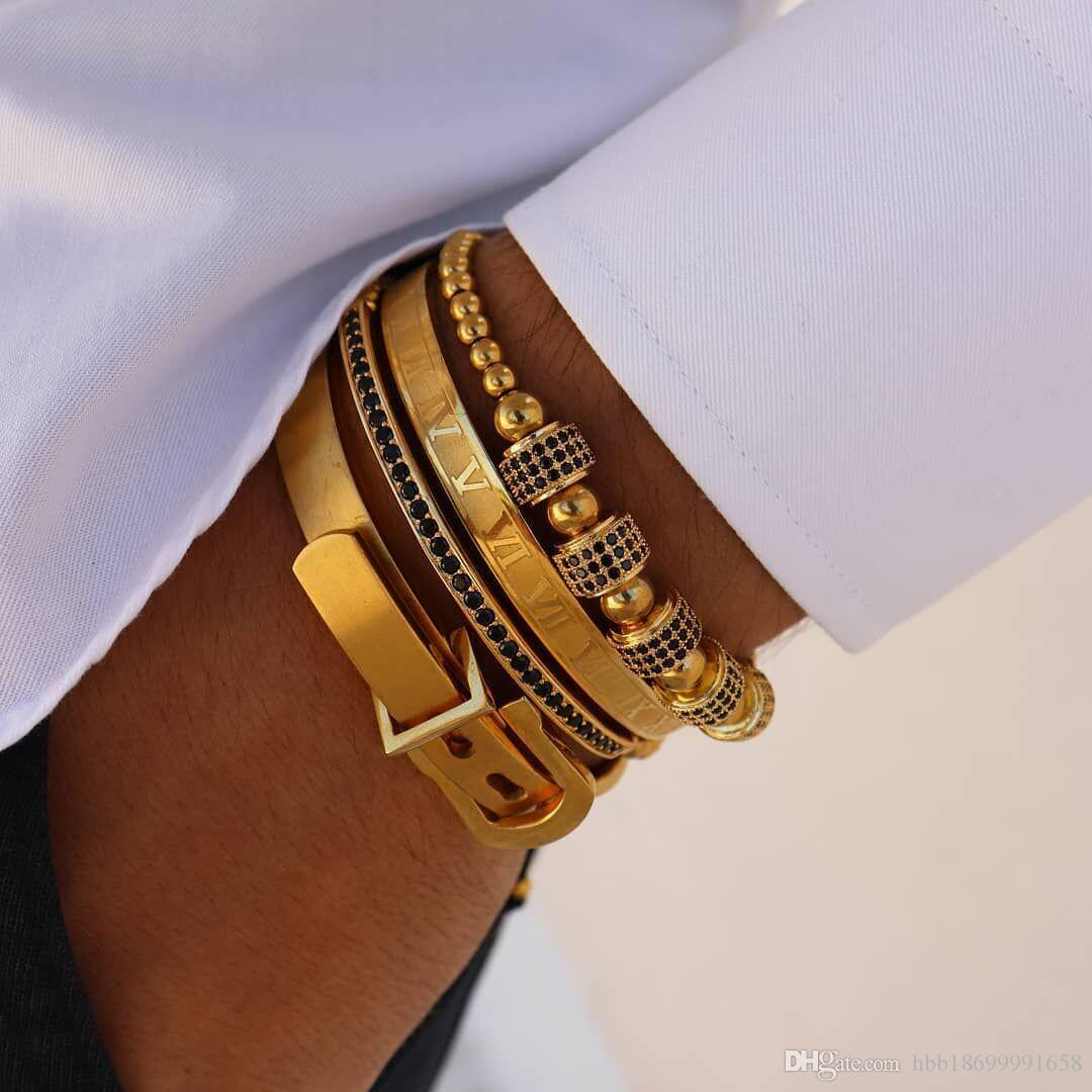 4pcs/Set Hot Men Titanium Steel Roman Numeral Bracelet Horseshoe Buckle Bangles Pulseira Bileklik Luxury Handmade Jewelry