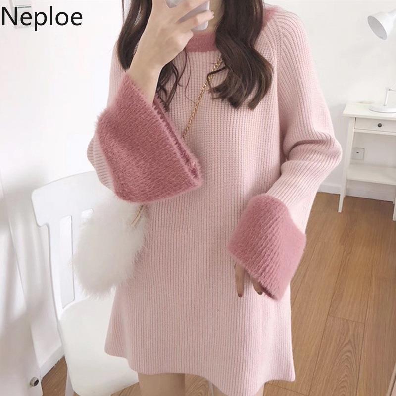 Suéteres de mujer Negloe 2021 Otoño invierno pequeño fragancia maxi suéter vestido o cuello parche tirar femme vestido jerseys ropa mujer knit 4673