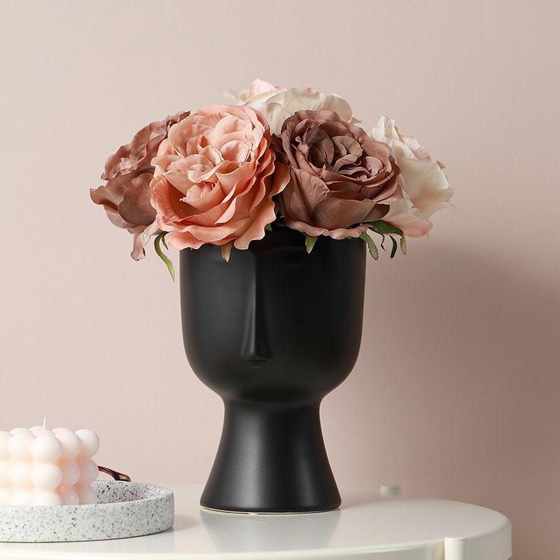 أسود وجه الرجل إناء الزهور السيراميك إناء الطاولة زهرة زارع الديكور زفاف هدية حزب زهرية
