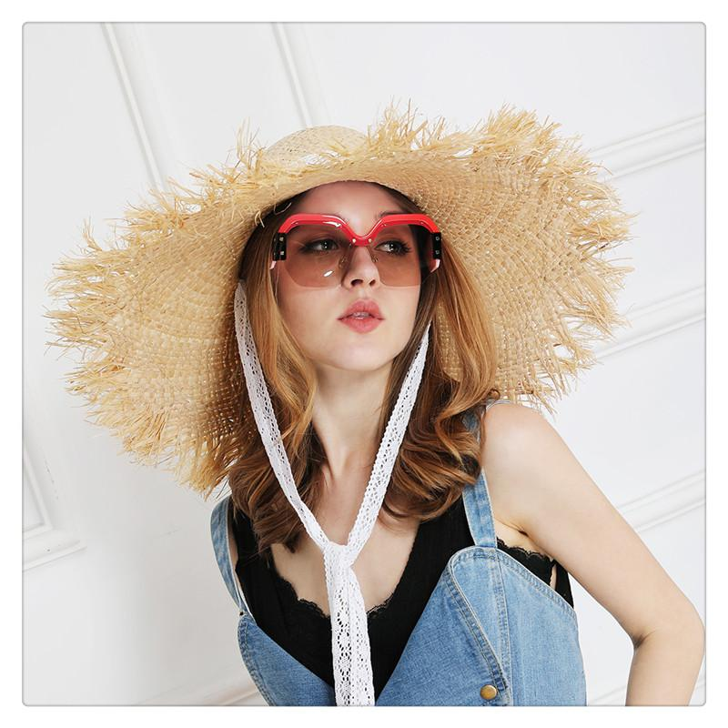 Wide Brim Hats Hat Bow Wide Grass Female Summer Cap Beach Visor Outdoor Holiday Beach Sun Protection Hat Collapsible