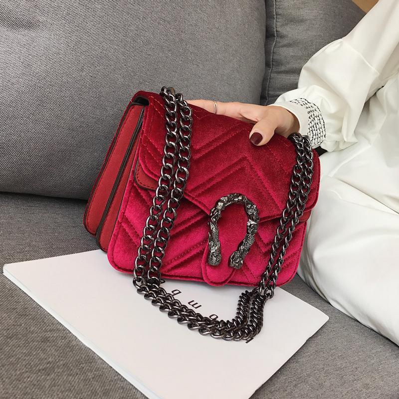 Designer-women bag winter new snakehead lock velvet bag classic embroidered line wavy women chain bag elegant temperament small