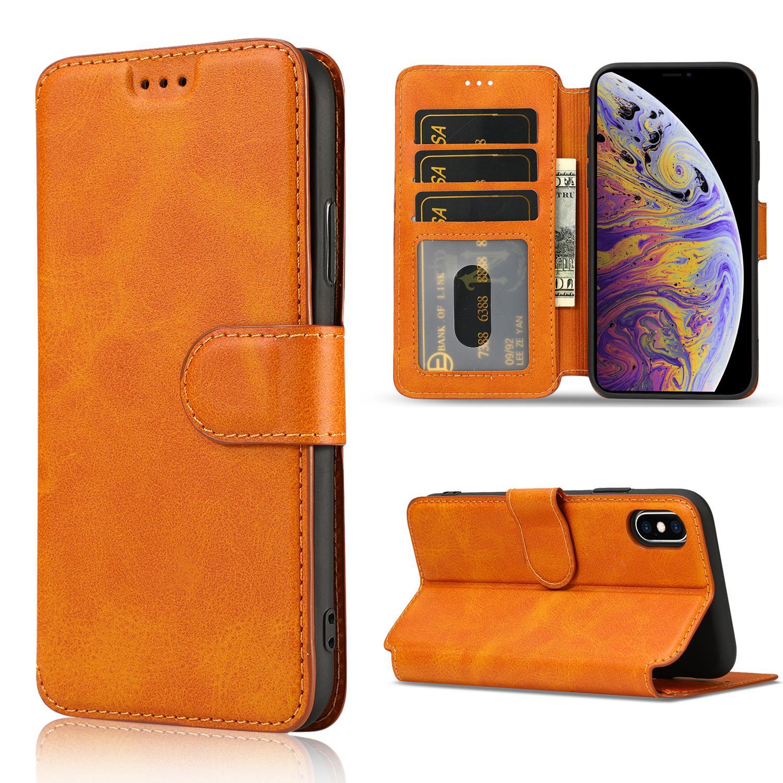 iPhone 7 / 8 / X / XR / XS Samsung S9 / S10 백 커버 용 가죽 지갑 플립 전화 케이스